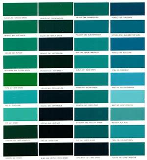 Autó színkártya színminta Autó színkód minta Autó Színminták COLOR0006