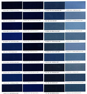 Autó színkártya színminta Autó színkód minta Autó Színminták COLOR0018