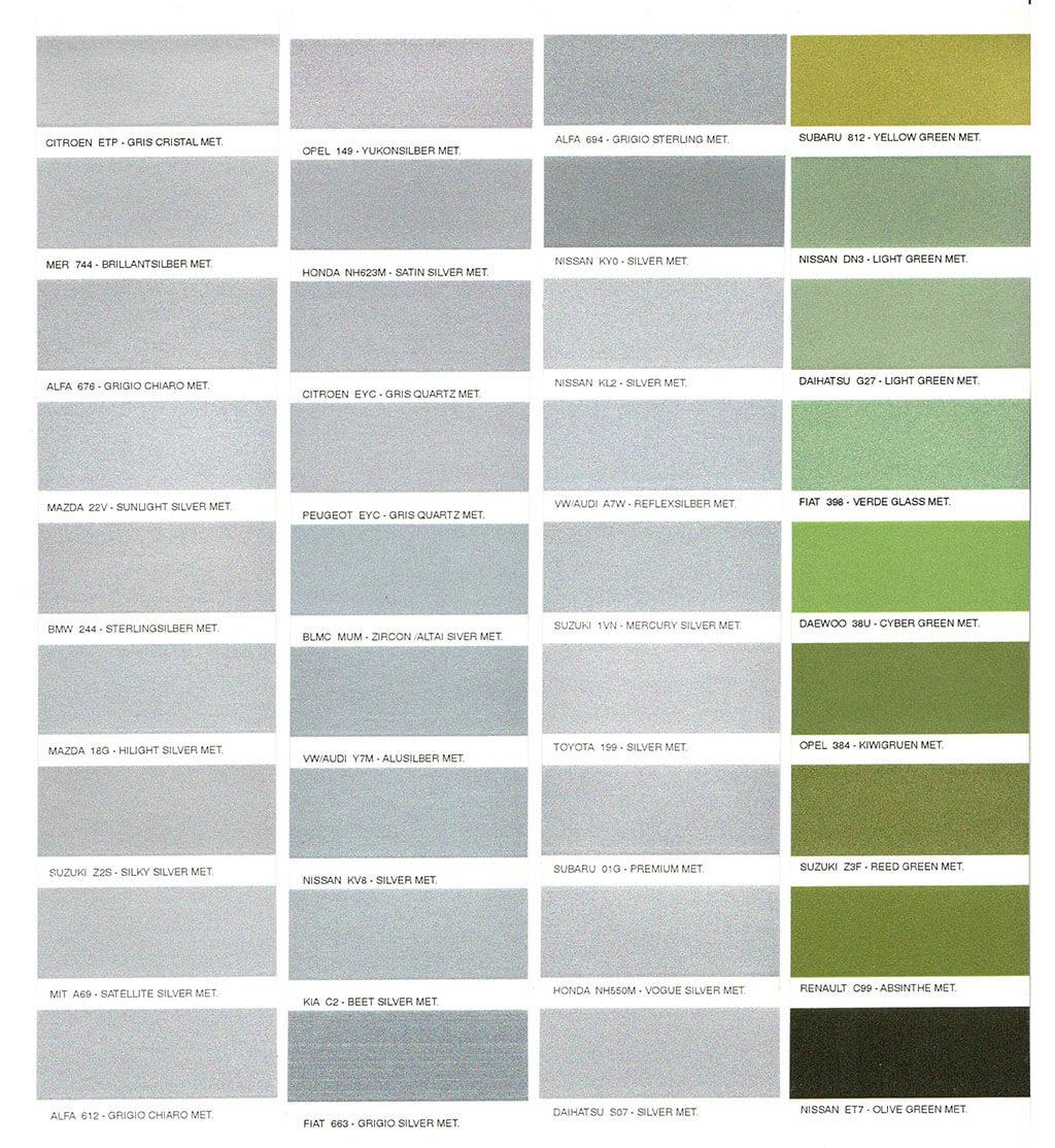 Opel színkód táblázat