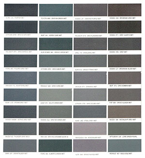 Autó színkártya színminta Autó színkód minta Autó Színminták COLOR0034