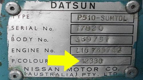 Datsun Színkód Tábla  Datsun Datsun Sz  nk  d tabla