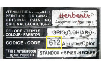 Lancia Színkód Tábla  Lancia LANCIA szinkod tabla