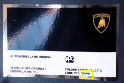 Lamborghini Színkód Tábla  Lamborghini Lamborghini szinkod tabla