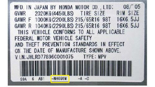 Honda Színkód Tábla  Honda honda szinkod tabla