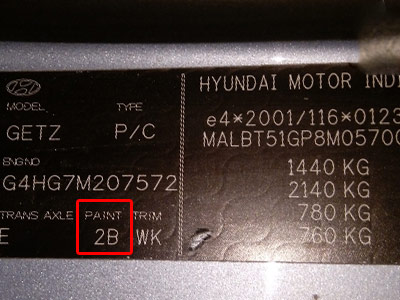 Hyundai Színkód Tábla  Hyundai Színkódok hyundai javito festek