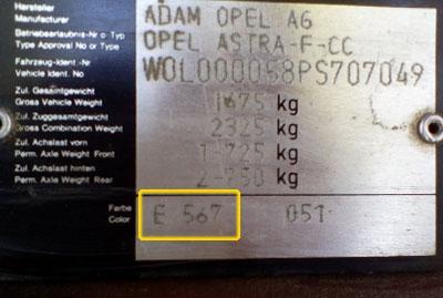 Opel Színkód Tábla  Opel színkódok opel szinkod tabla 02