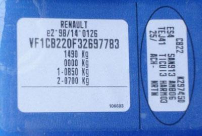 Renault  Színkód Tábla  Renault színkodok renault szinkod tabla 2