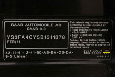 Saab Színkód tábla  Saab saab szinkod tabla2