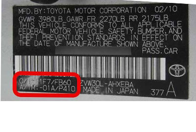 Toyota Színkód tábla  Toyota Színkódok toyota szinkod tabla