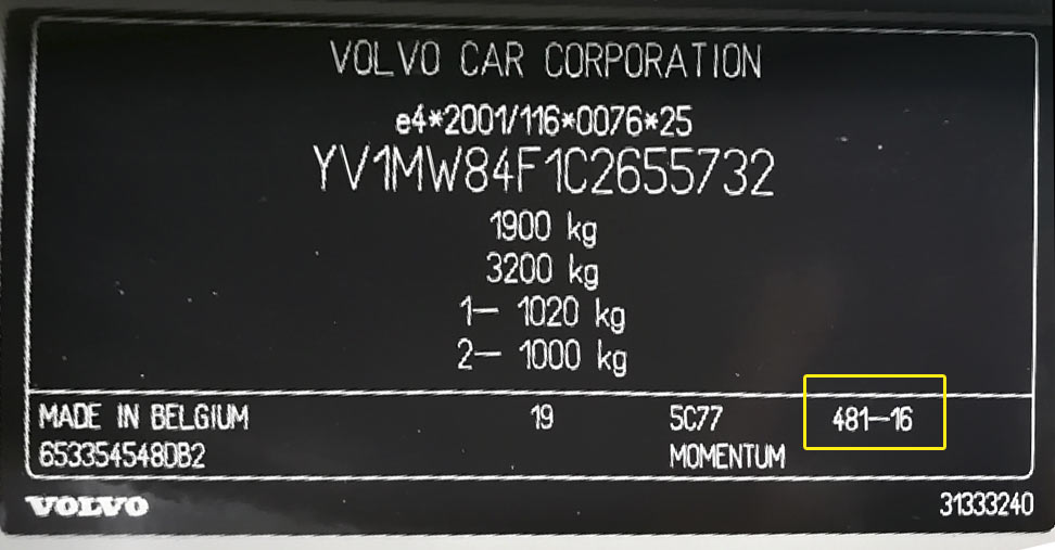Volvo Színkód Tábla  Volvo Színkódok volvo szinkod1