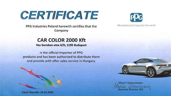 PPG Nagykereskedelmi partneri megállapodás  PPG Certificate PPG Industries CarColor Certificate
