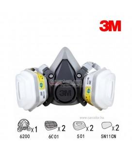 3M™ 6200 Ikerszűrős Félálarc Szett, Fényezőmaszk Szett (M)