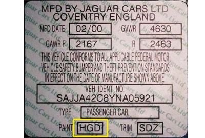 Jaguar Színkód Tábla
