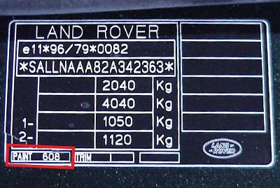 Land Rover Színkód Tábla