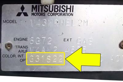 Mitsubishi Színkód Tábla