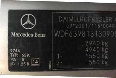 Mercedes Színkód Tábla Viano-2014