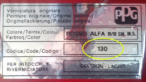 Alfa Romeo Színkód Tábla