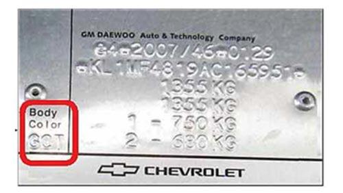 Daewoo Színkód Tábla
