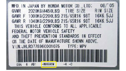 Honda Színkód Tábla