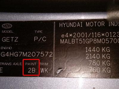 Hyundai Színkód Tábla