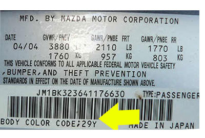 Mazda Színkód Tábla