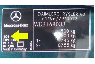 Mercedes Színkód Tábla