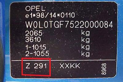 Opel Színkód Tábla