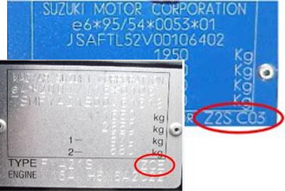 Suzuki Színkód tábla