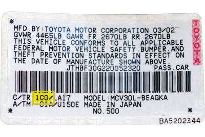 Toyota Színkód tábla